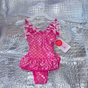 Kids pink Mermaid Flower Swimsuit